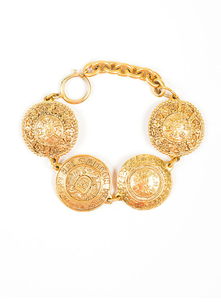 "Gold Toned Chanel ""31 Rue Cambon"" Coin Medallion Chain Bracelet Frontview"