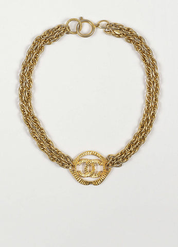 Gold Toned Chanel 'CC' Pendant Double Chain Choker Necklace Frontview