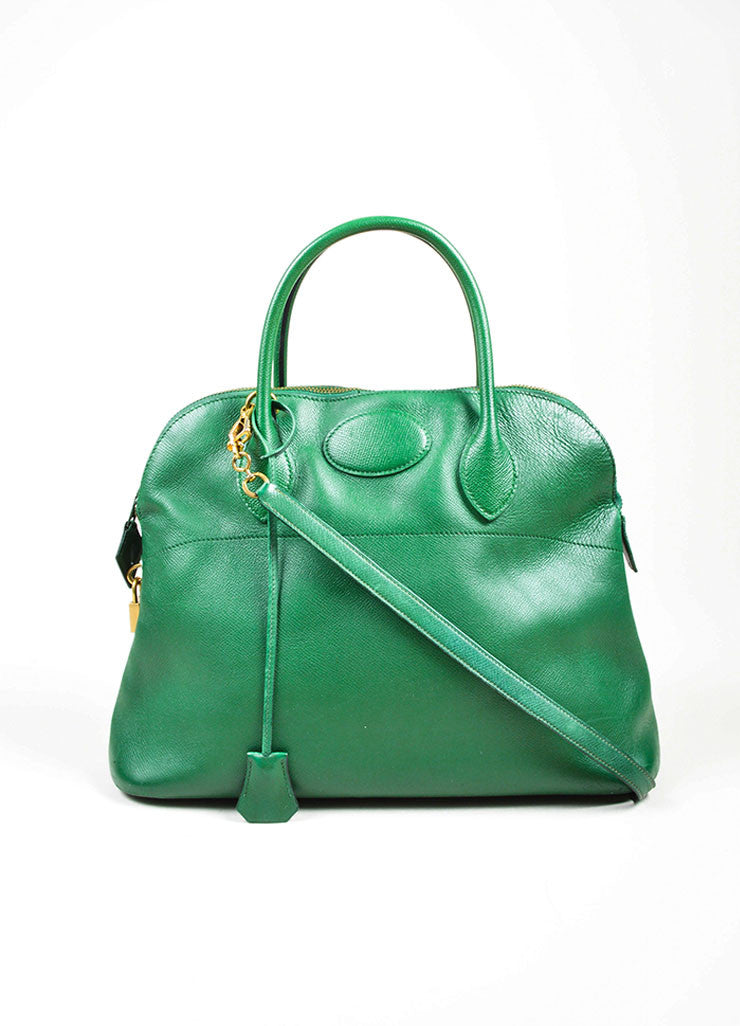 "Kelly Green Hermes Leather ""Bolide 35cm"" Structured Satchel Bag Frontview"