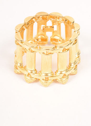 Kenneth Jay Lane Gold Toned Pillar Bracelet Sideview