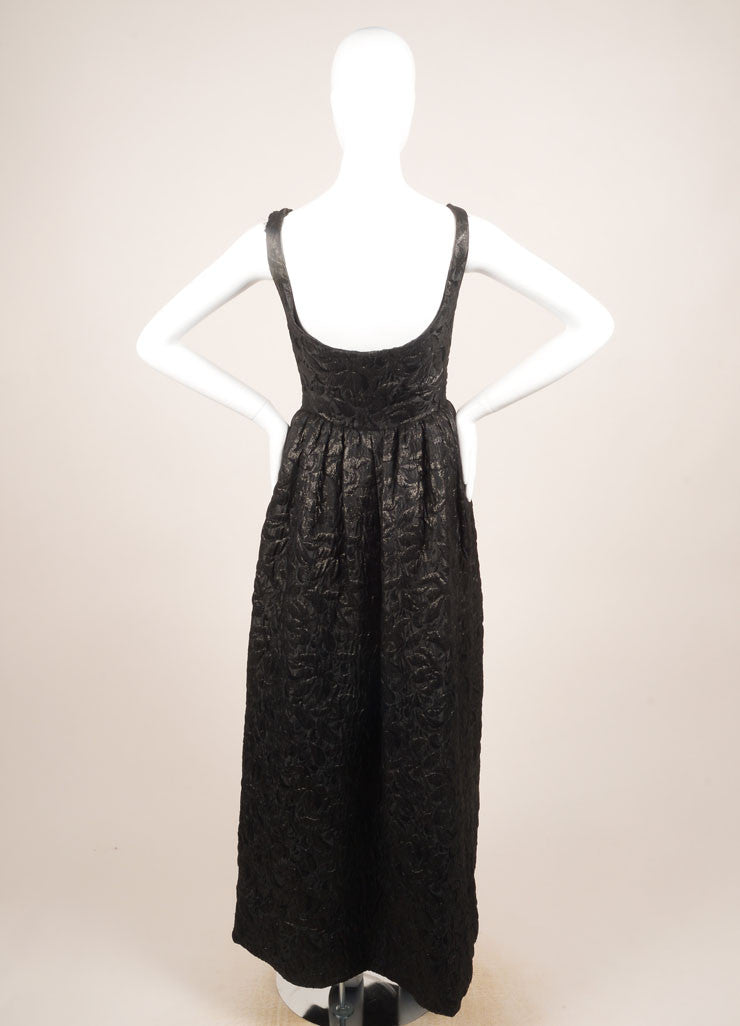 Norman Norell Black Textured Brocade Full Length Sleeveless Gown Backview
