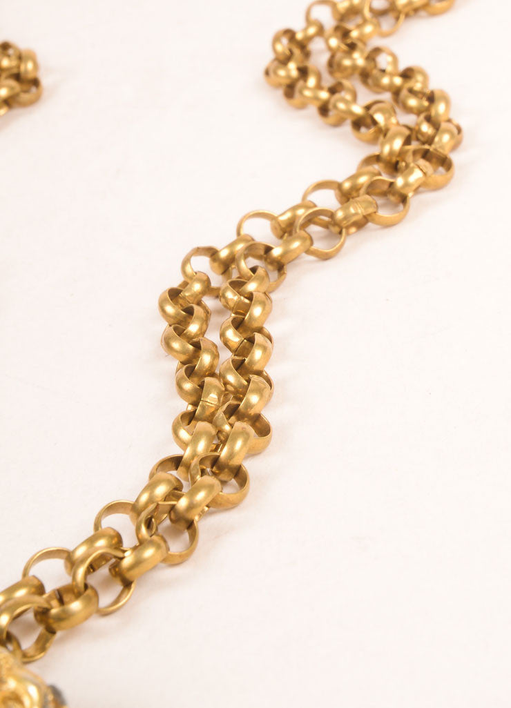 Tortolani Dark Gold Toned Chunky Zodiac Pendant Double Chain Necklace Detail 2