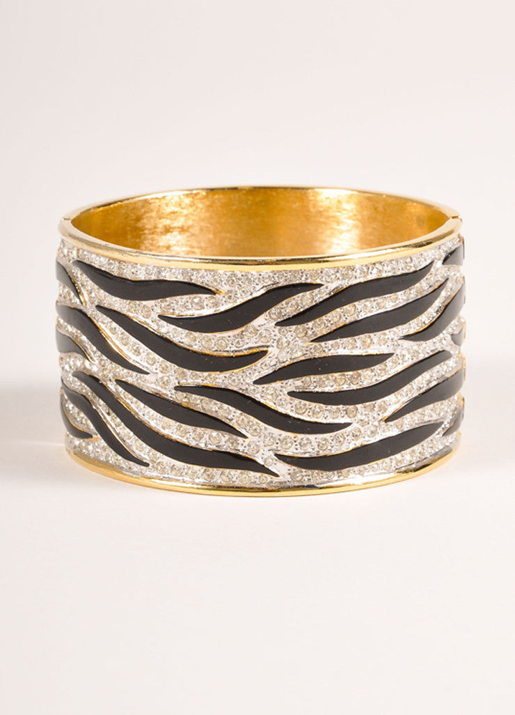 Valentino Gold Toned and Black Metal, Enamel, and Rhinestone Zebra Hinge Cuff Bracelet Frontview