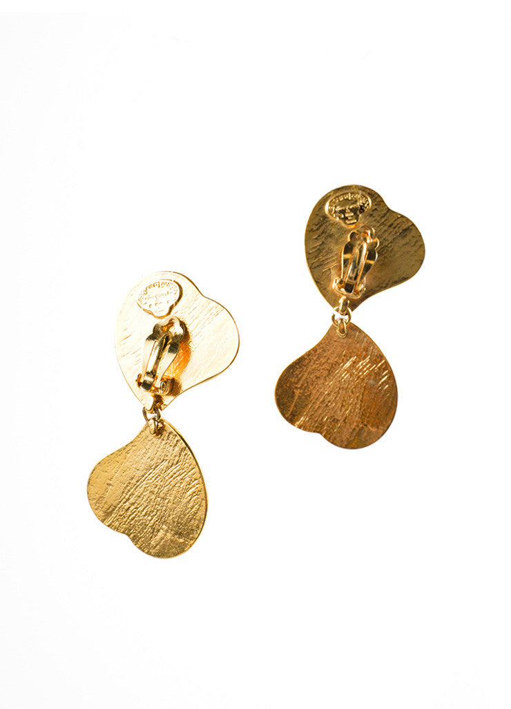 Yves Saint Laurent Gold Toned and Green Glass Double Heart Earrings Backview