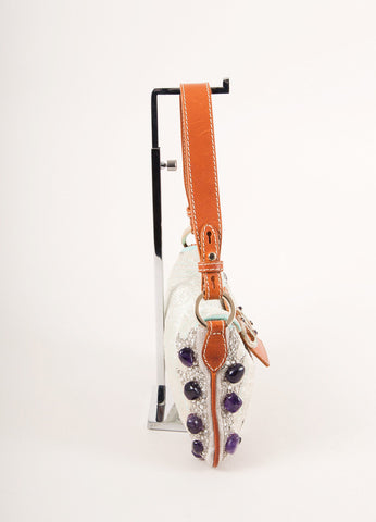 Valentino Brown, White, and Purple Leather Trim Sequin Beaded Embellished Flap Bag Sideview