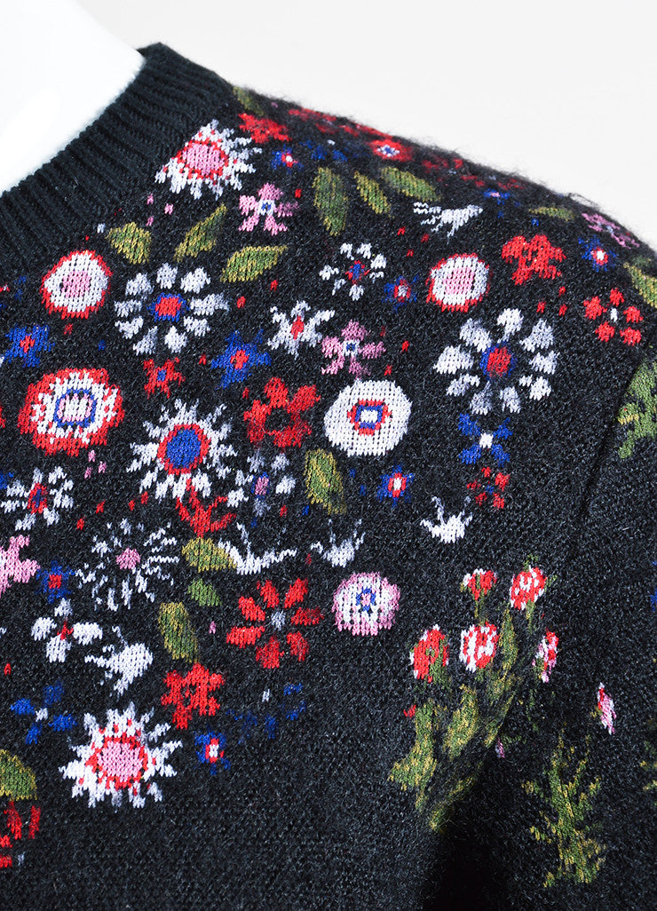 "Black and Multicolor Valentino Floral ""Primavera"" Pullover Sweater Detail"