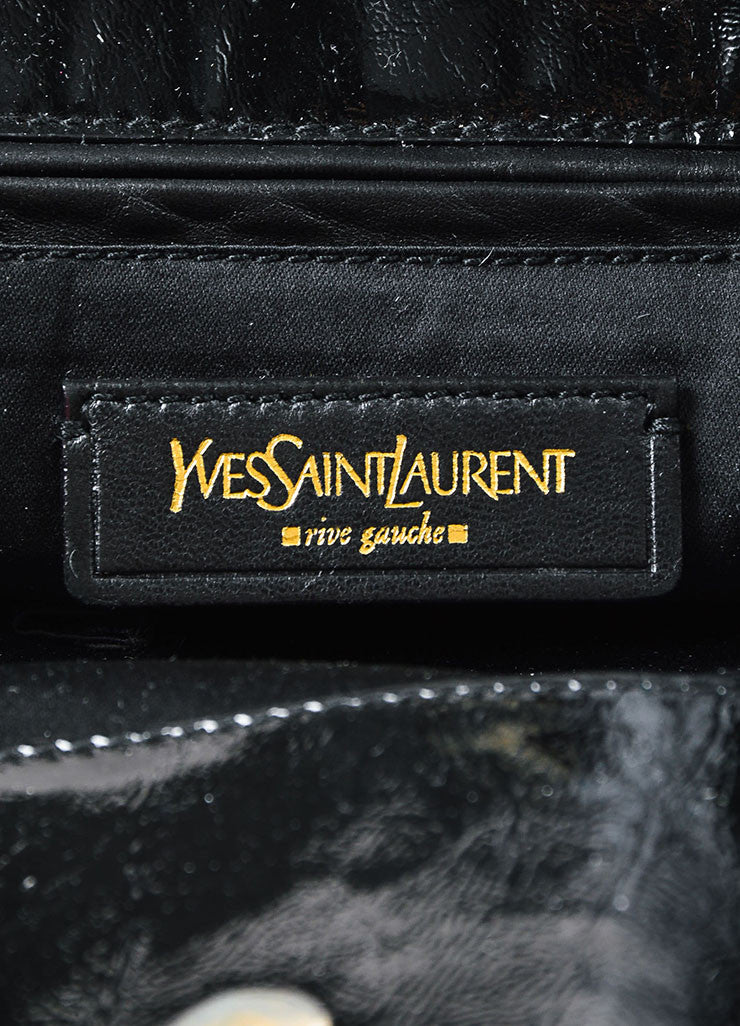 "Yves Saint Laurent Black Patent Leather ""Tribute"" Tote Bag Brand"