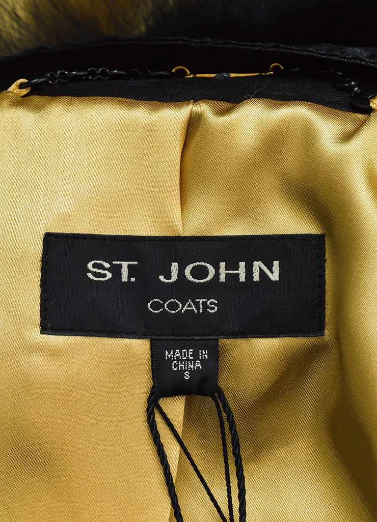 St. John Coat Collection Black Leather Fur Collar Jacket