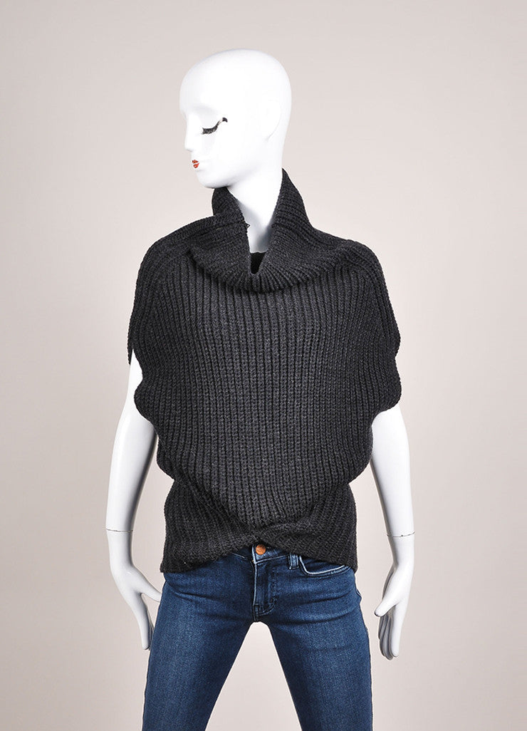 3.1 Phillip Lim Charcoal Grey Wool Blend Cocoon Sleeveless Sweater Frontview