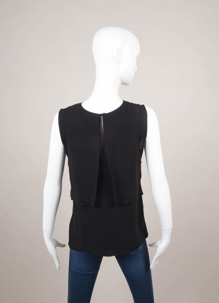 Black Layered Panel Detail Sleeveless Silk Tunic
