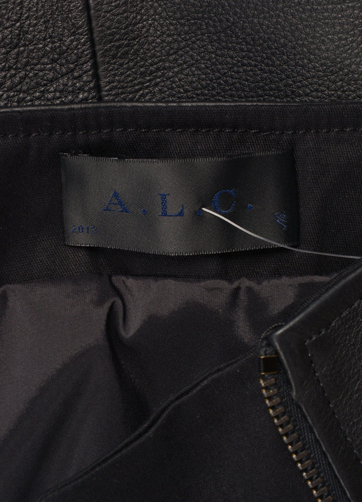 "A.L.C. New With Tags Black Multi-Pocket Quilted Trim Zip ""Peter"" Leather Skirt Brand"