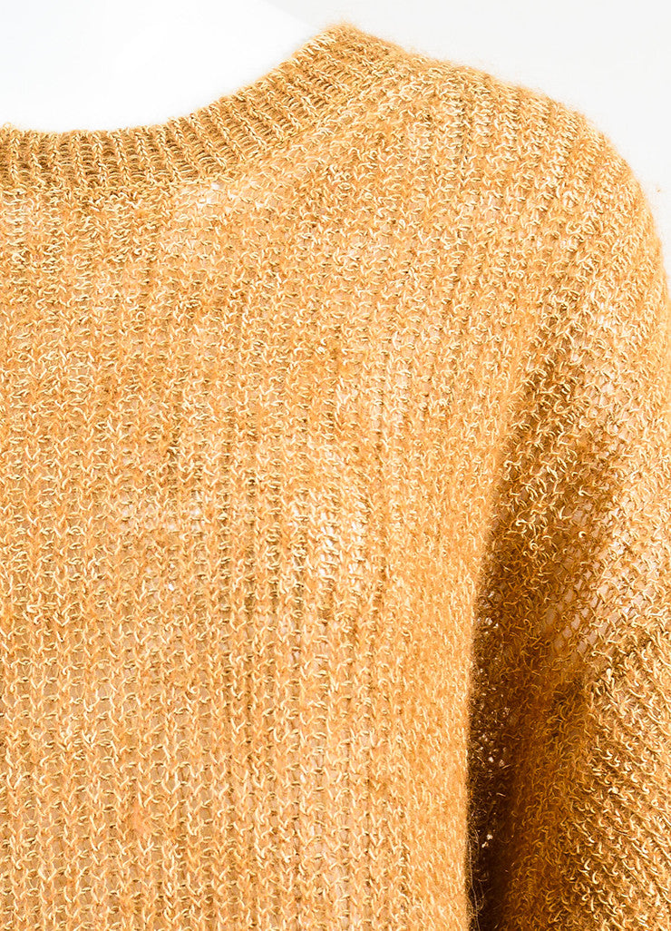 Acne Studios Camel Linen Blend Loose Knit Crew Neck Sweater Detail