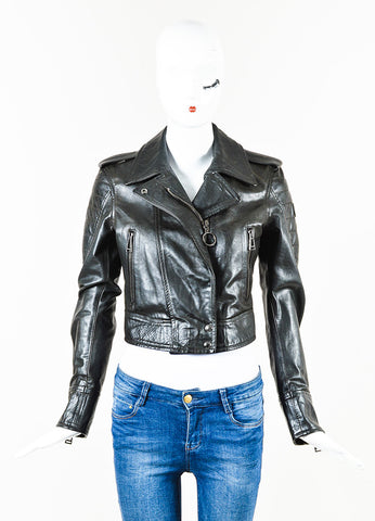 Belstaff Black Leather Zip Up Quilted Long Sleeve Cropped Moto Jacket Front