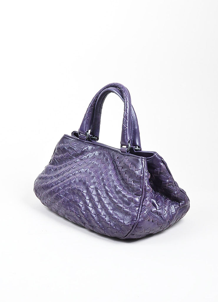 Purple Bottega Veneta Intrecciato Woven Leather Satchel Handbag Sideview