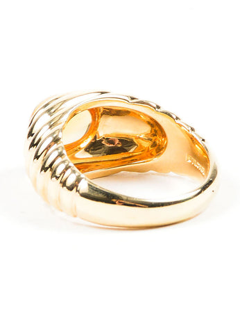 18K Yellow Gold and Citrine Bulgari Scalloped Ridged Ring Sideview
