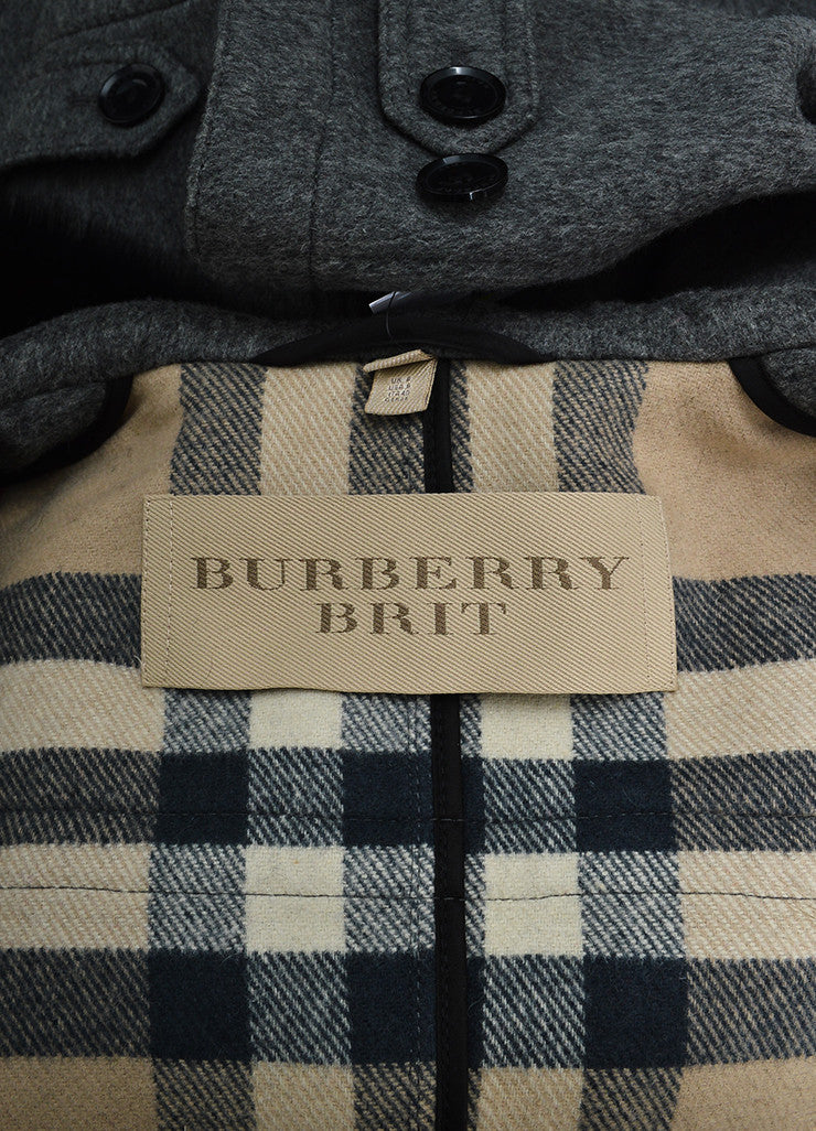 Burberry Brit Grey Wool Fox Fur Trimmed Duffle Hooded Toggle Coat Brand