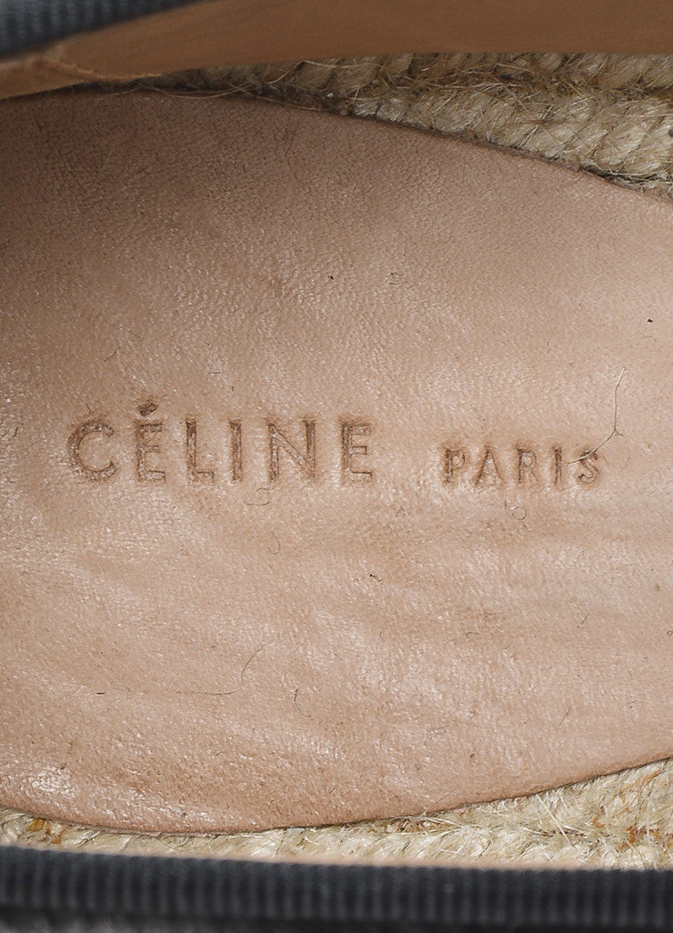 Celine Black Pony Hair Notched Vamp Espadrille Loafers Brand