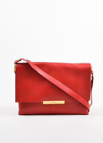 "Celine Red Leather Gold Toned Flap ""Blade"" Shoulder Bag Frontview"