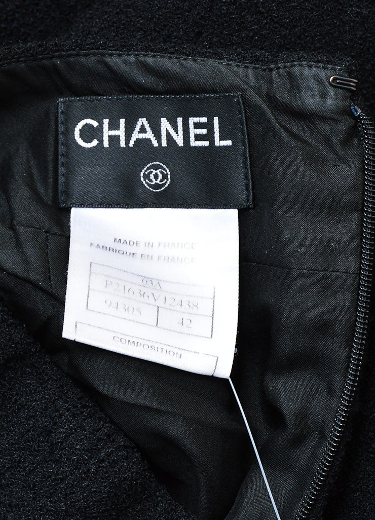 Chanel 03A Black Wool Textured Pencil Skirt  brand