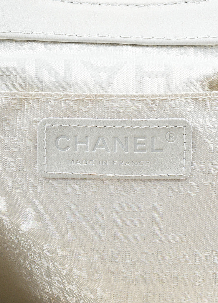 Off White Leather Chanel 'CC' Chain Embellished Satchel Handbag Brand
