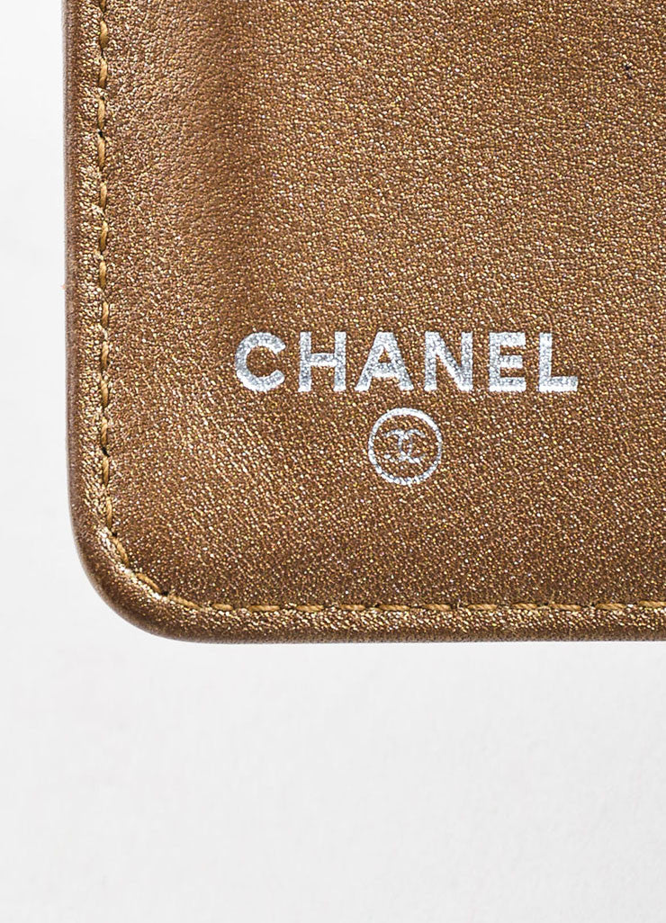 "Chanel Black and Brown Stingray Pattern Leather 'CC' Logo ""L-Zip Pocket Wallet"" Brand"