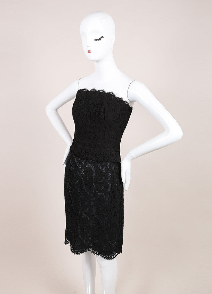 Chanel Black Lace Strapless Corset Top and Pencil Skirt Set Sideview