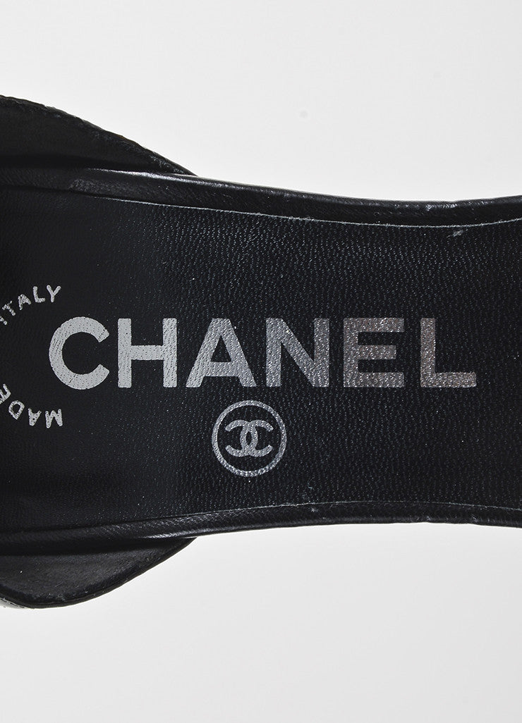 Chanel Black Leather Patent Leather Cap Toe Wrap Up Pumps Brand