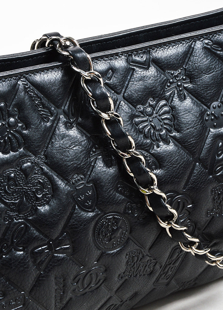"Black Chanel Leather Quilted Embossed ""Precious Symbols"" Chain Shoulder Bag Detail 2"