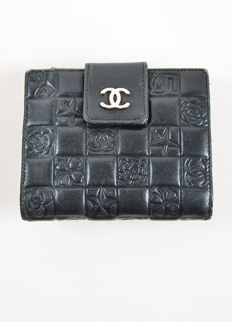"Chanel Black Leather Quilted Precious Symbols ""Chocolate Bar"" Bifold Wallet Frontview"