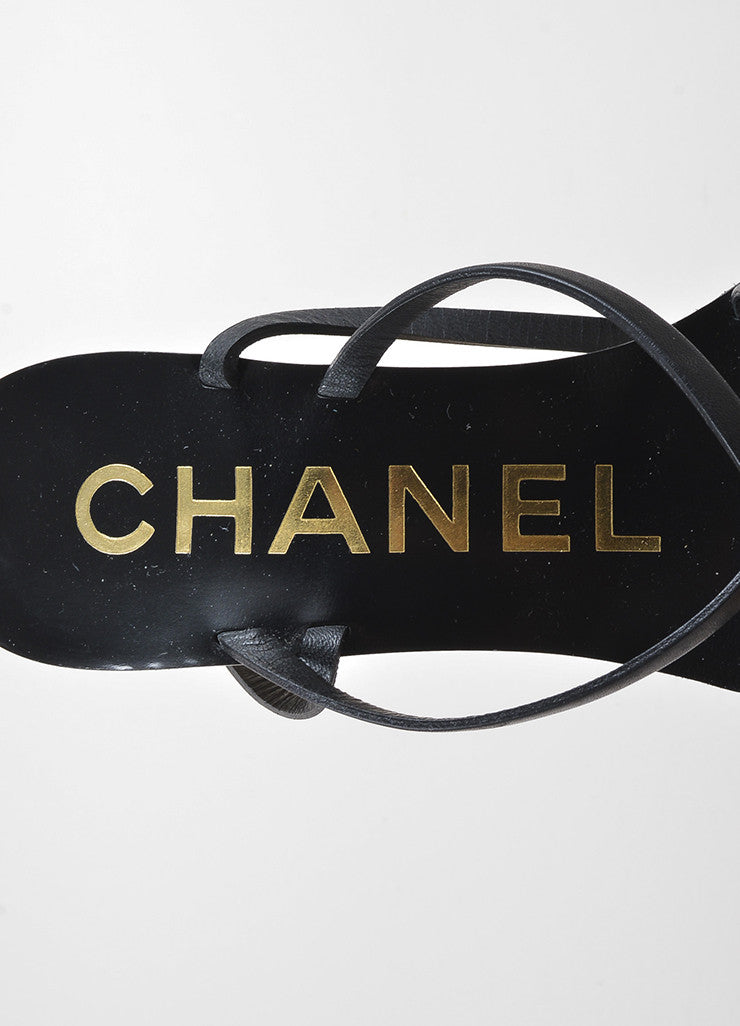 Chanel Black, Metallic Gold, and Cream Leather Strappy Wedge Sandals Brand