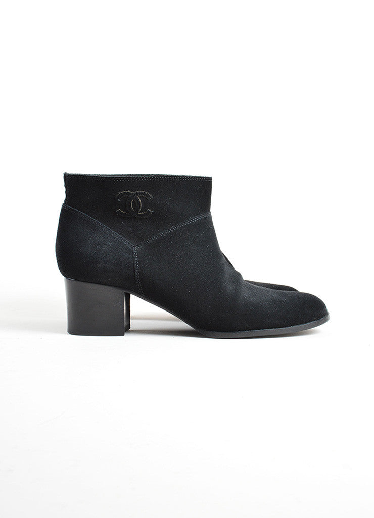 Chanel Black Suede 'CC' Stitched Low Chunky Heel Ankle Boots Sideview