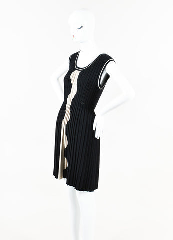 Chanel Black White Wool Wave Patterned & Pleated Dress Side