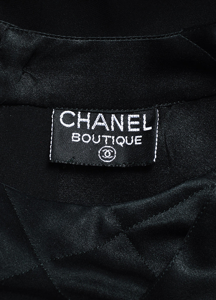 Chanel Black Quilted Inset and Buttoned Back Long Sleeve Blouse Brand