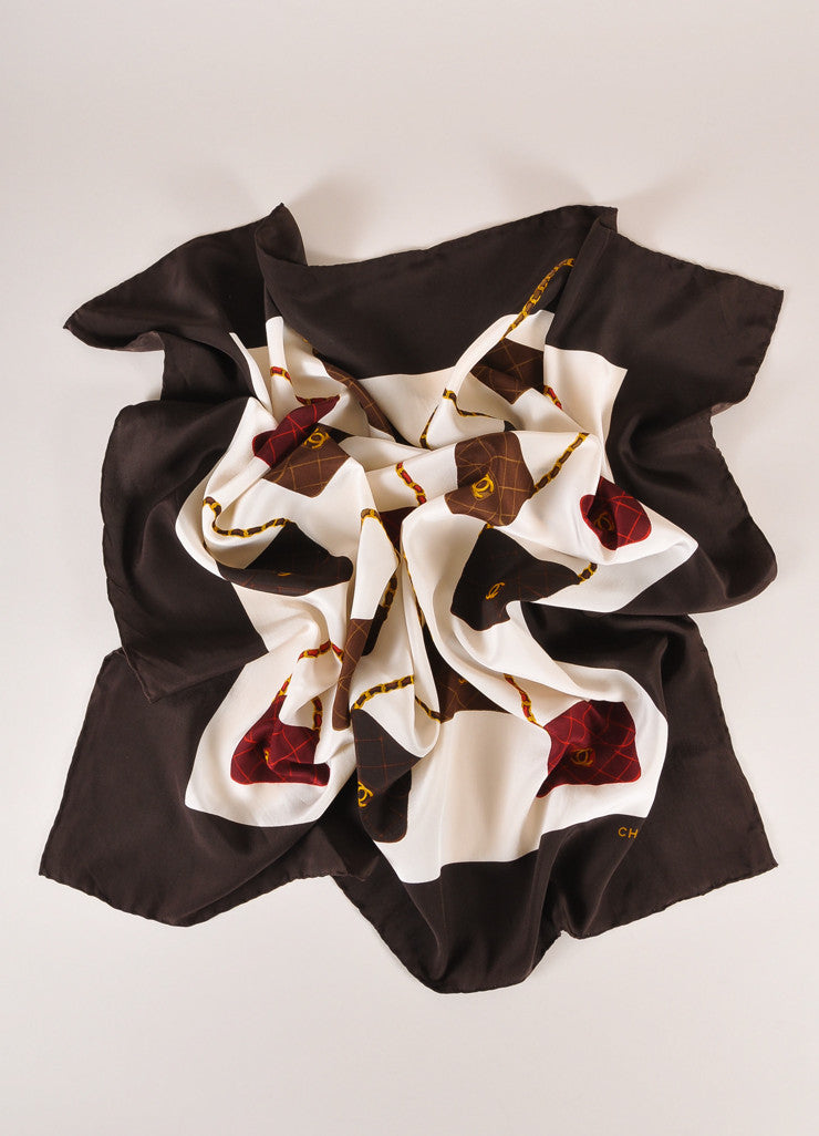 Chanel Cream, Brown, and Red Quilted Bags Print Silk Scarf Frontview
