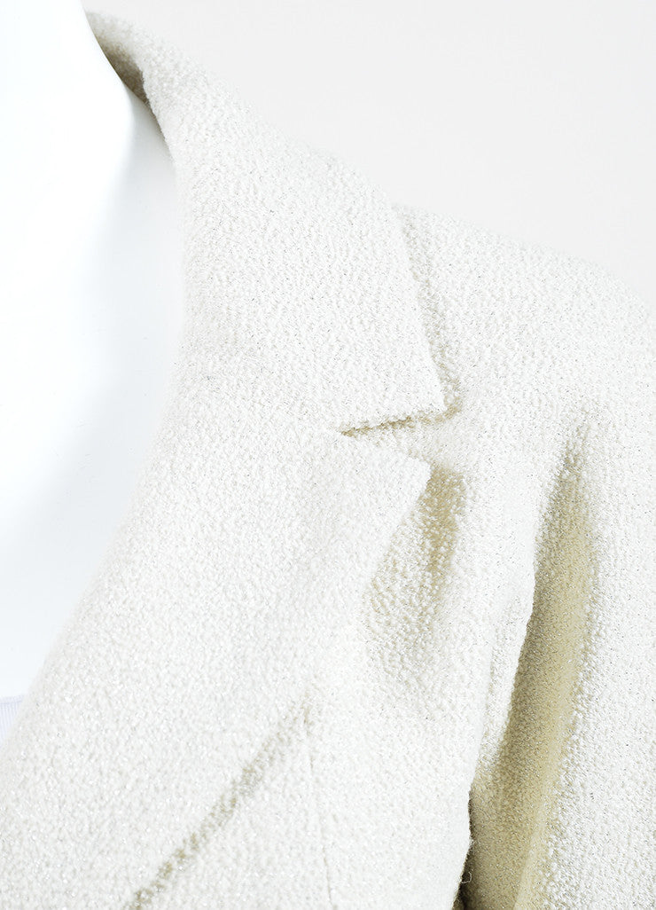 Cream and Silver Chanel Boucle Wool Stone Embellished Wrap Belt Blazer Jacket Detail