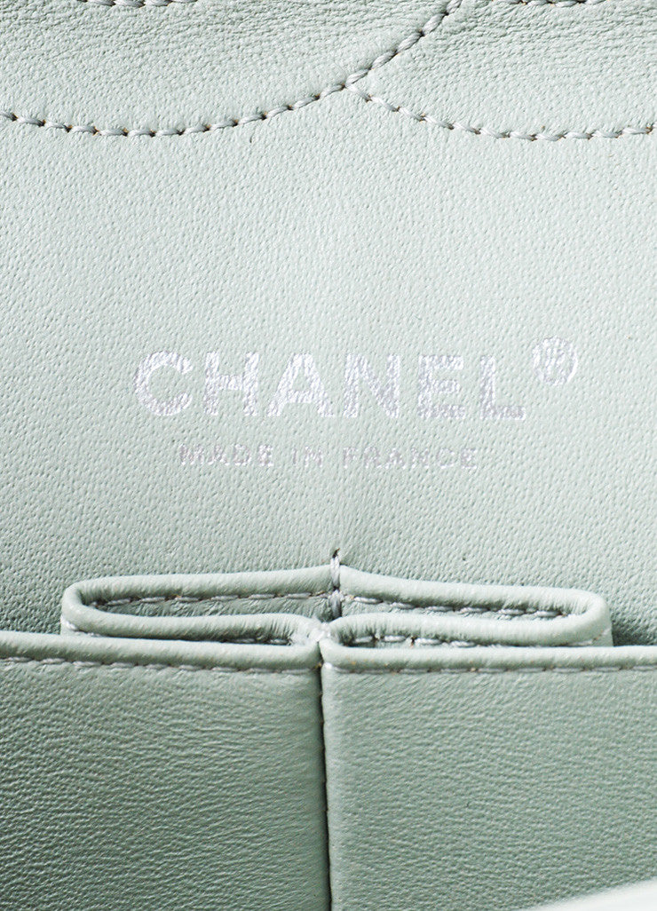 Chanel Mint Distressed Quilted Leather Medium Double Flap Chain Shoulder Bag Brand