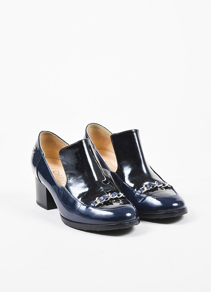 Chanel Navy Blue Patent Leather Silver Toned Chain Block Heel 'CC' Loafers Frontview