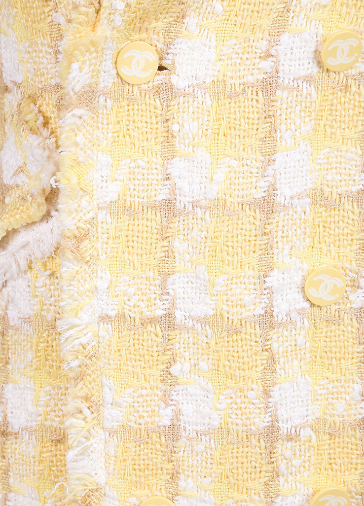 Chanel Yellow and White Woven Tweed Plaid Print Fringe Trim Long Sleeve Coat Detail