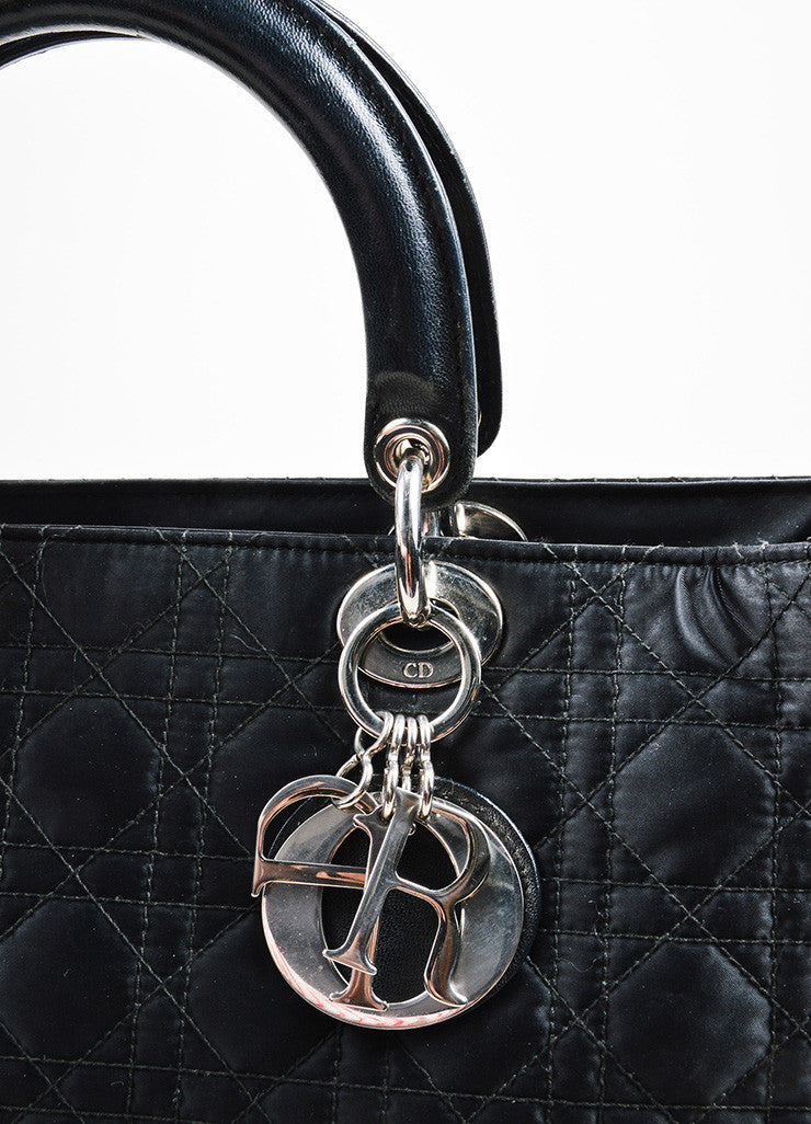 "Black Silk and Leather Christian Dior ""Cannage Large Lady Dior"" Cross Body Bag Detail 2"