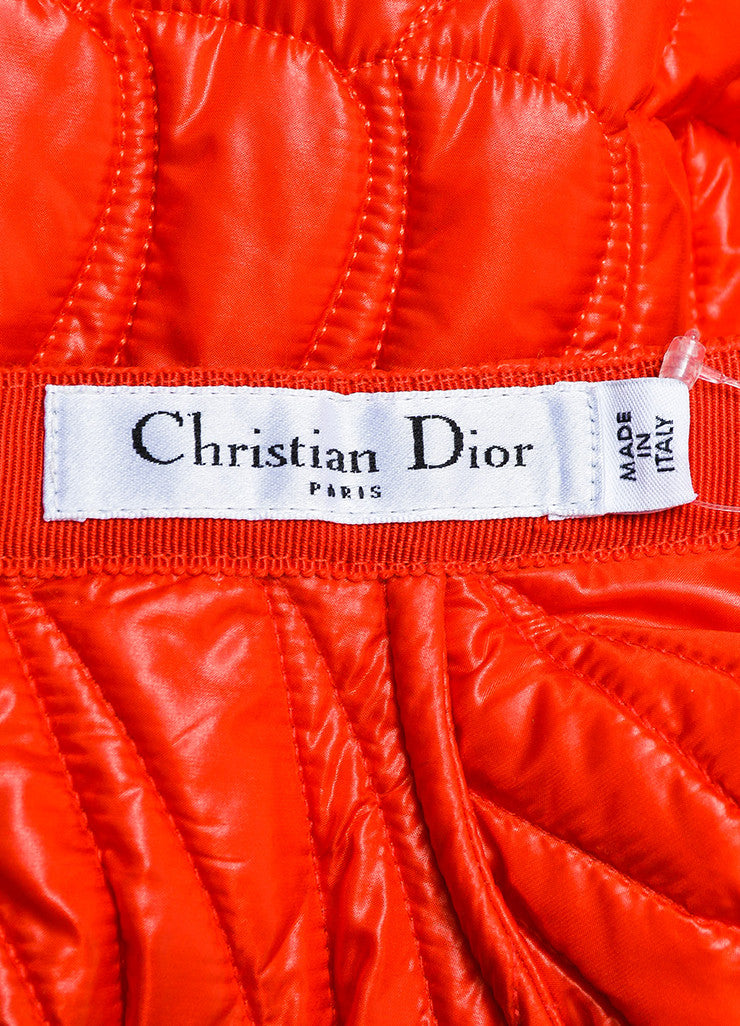 Red Christian Dior Quilted Nylon Angled Pleated Skirt Brand