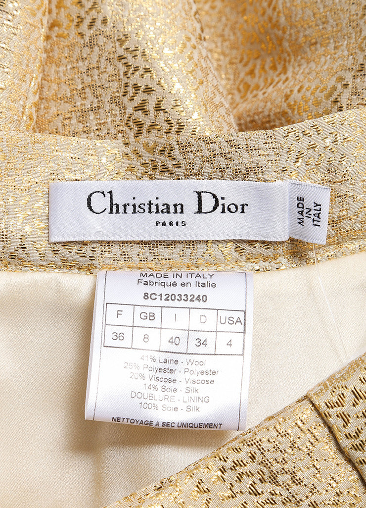Christian Dior New With Tags Gold Metallic Pleated Bow Skirt Brand