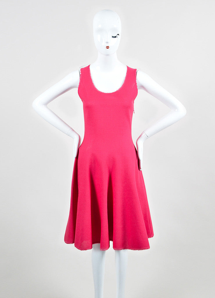 Pink Christian Dior Silk and Cotton Knit Sleeveless Fit and Flare Dress Frontview