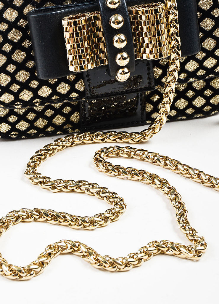 "Black and Gold Metallic Christian Louboutin Chain Strap ""Sweet Charity"" Evening Bag Detail 2"