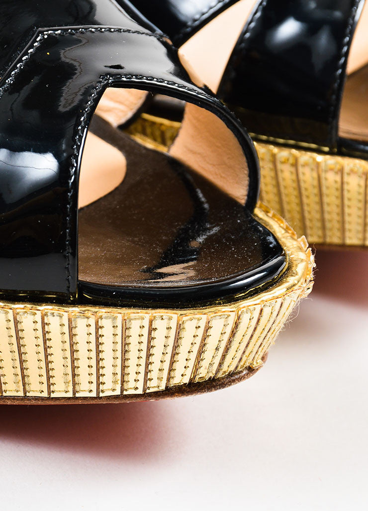 "Christian Louboutin Black Patent Leather Gold Mirror ""Cotton Club"" Wedges Detail"