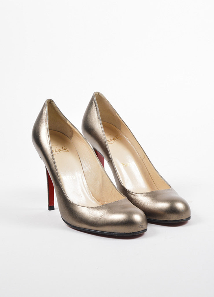 "Christian Louboutin Bronze Metallic Leather Round Toe ""Simple 100"" Heels Frontview"