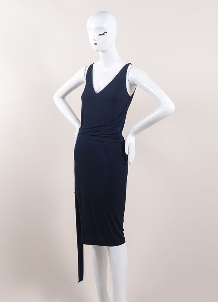 Donna Karan Navy Blue Jersey Knit Belted Sleeveless Slip Dress Sideview