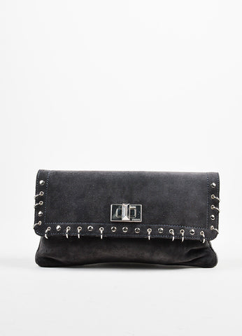 Emilio Pucci Grey and Silver Toned Suede Studded Ringed Flap Clutch Bag Frontview