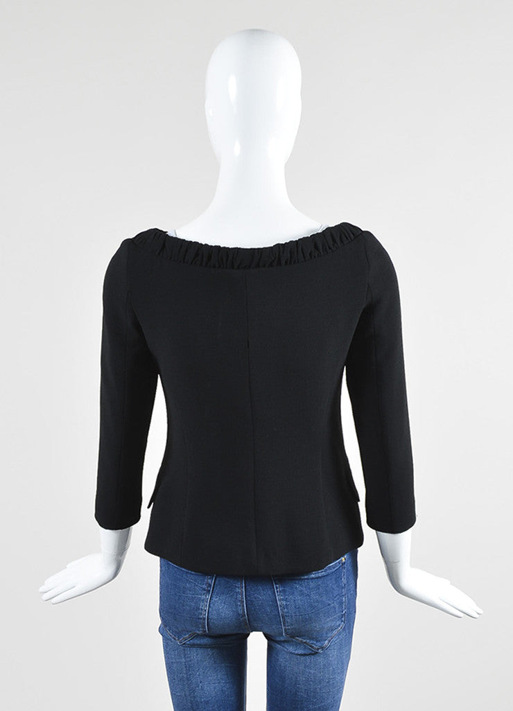 Black Fendi Crepe Cropped Sleeve Boat Neck Tie Collar Wrap Tailored Top Backview
