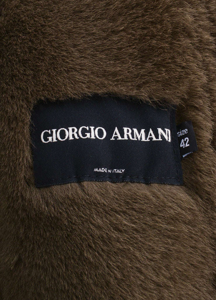 Giorgio Armani Brown Suede Leather and Fur Long Sleeve Full Length Belted Coat Brand
