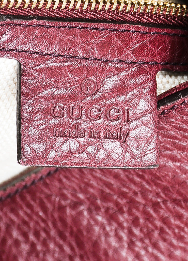 "Maroon Gucci Leather Embossed 'GG' Tassel ""Soho Working"" Tote Bag Brand"